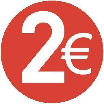 2€ Euro - Pack 500-30mm Rot - Price Stickers