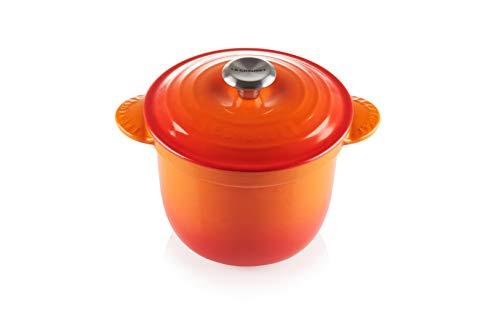 Le Creuset Rice Pot with SS Knob & Stoneware Insert LS4101S-182SS-Arroz esmaltado gres, 2,25 cuartos, llama, Hierro fundido