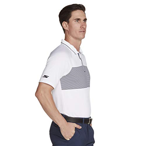 Skechers Fade Stripe Modern Fit Short Sleeve Zip Golf Polo Chemise, Blanc, XXL Homme