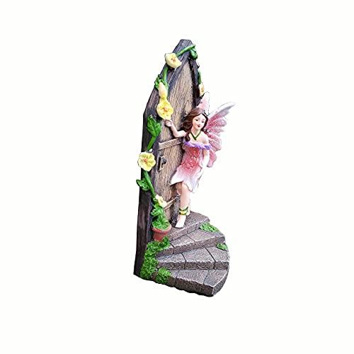 JKKJ Kit de jardín de hadas de resina, en miniatura, hadas, decoración festiva al aire libre para patio, patio, césped, adorno de regalo
