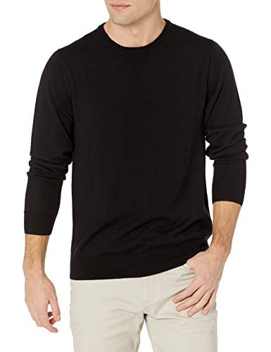 Amazon Brand - Goodthreads Men's Lightweight Merino Wool Crewneck Sweater, Black, X-Large
