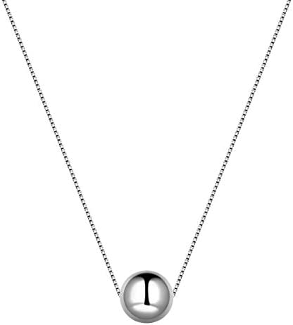 Aurora Tears 3D Round Ball Simple Necklace 925 Sterling Silver Geometric Minimalist Dating Birthday product image