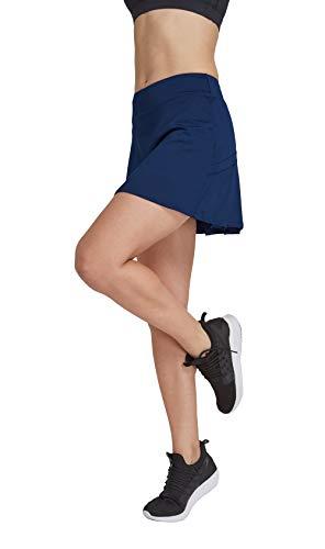 Preisvergleich Produktbild Damen Tennisrock mit Sporttights Skirt Minirock Sport Skort XS-XXL(Dunkel Blau, S)