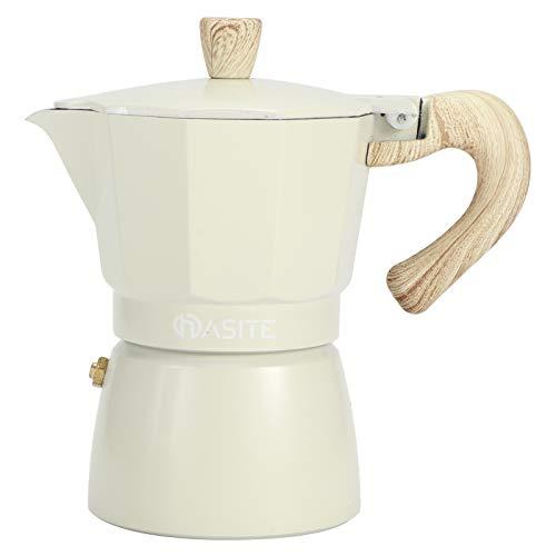 Aluminio Olla Moka Cafetera Espresso Octogonal Para Estufa con Mango De Madera,...