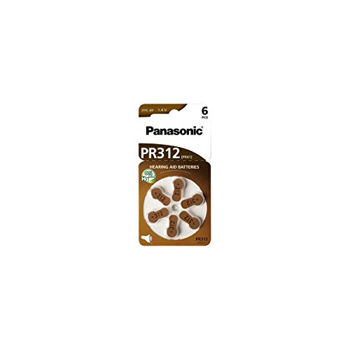 Panasonic PR312 Zink-Luft-Batterien für Hörgeräte, Typ 312, 1.4V, Hörgerätbatterien, 6 Stück, braun