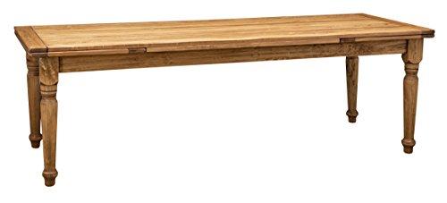 Biscottini Table Extensible en Bois Massif de Tilleul – Style Country – Style Shabby – Structure et Plateau Naturel Vieilli L 250 x P 100 x H 80 cm