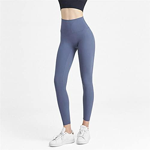 MLLM No Transparenta Cintura Alta Pantalón,Pantalones Deportivos de Yoga para Fitness, Pantalones Ajustados de Alta Velocidad elásticos-Azul Profundo_M,Pantalones Elásticos Fitness