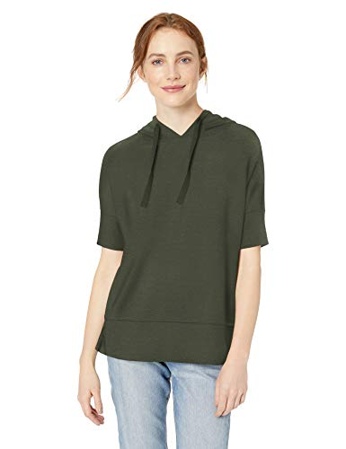 Amazon Brand - Daily Ritual Women's Supersoft Terry Hooded Short-Sleeve Sweatshirt, Olive,Large