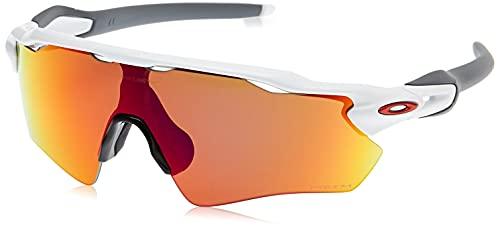 Oakley Men's OO9208 Radar EV Path Polarized Shield Sunglasses, Polished White & Black/Prizm Sapphire, 38 mm