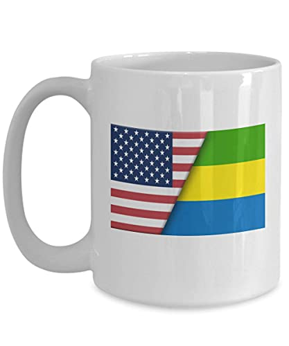 Weiße Tasse mit USA-Flagge von Gabun, Geschenk für Einwanderer
