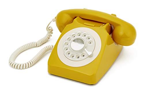 GPO 746ROTARYMUS Retro Telefon mit Wählscheibe im 70er Jahre Design Gelb- Senf Farbe