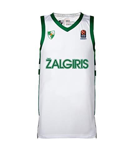 BC Zalgiris Kaunas Camiseta Oficial de Baloncesto para Hombre, sin Mangas, para el día del Juego, Hombre, Camiseta Oficial de Baloncesto, 1763, Blanco, Large