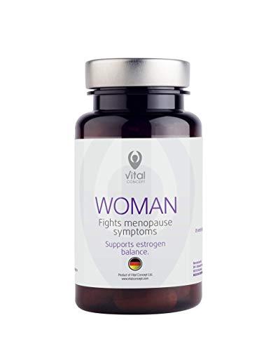 Vital Concept WOMAN | Aiuto nella MENOPAUSA - Vampate di calore, insonnia e depression | Senza OGM | Estratti isoflavoni di Soia, Trifoglio rosso, Rhodiola rosea | 60 Veggie capsule | 30 giorni