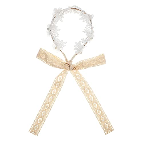 FRCOLOR Flor Floral Lace Bead Ribbon Hair Guirnalda Garland Diadema Corona para niñas Blanco