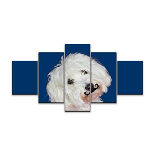 XEPPO 5 Panels Wall Art Print On Canvas Maltese Dog Tilting The Head Side and Wearing A Fake Mustache Modern Abstract Picture Poster for Home Decor Stretched and Framed Ready to Hang (60''Wx32''H)