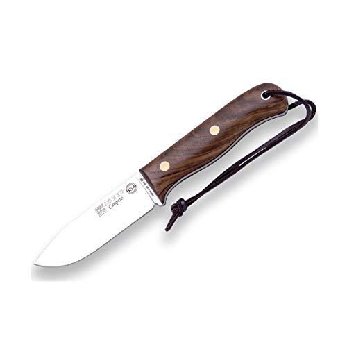 Joker Jagdmesser BS9 Campero CN112-P, Gürtelmesser mit Walnussholzgriff, Klinge 10,5 cm aus SANDVIK 14C28N, Lederscheide, mit Feuerstahl, Werkzeug zum Angeln, Jagen, Camping und Wandern