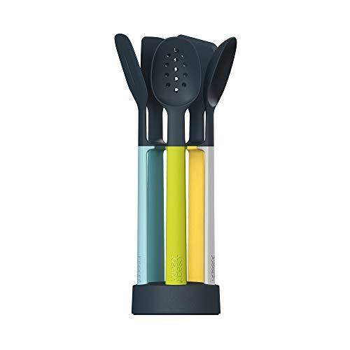 Joseph Joseph Elevate Juego de 5 utensilios de cocina con soporte de almacenamiento compacto - Ópalo