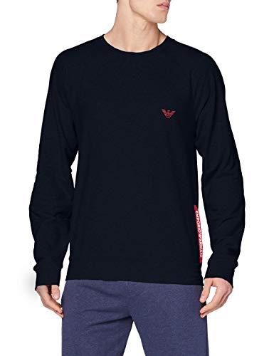 Emporio Armani Underwear Mens Sweater Stretch Terry Sweatshirt, Marine, S