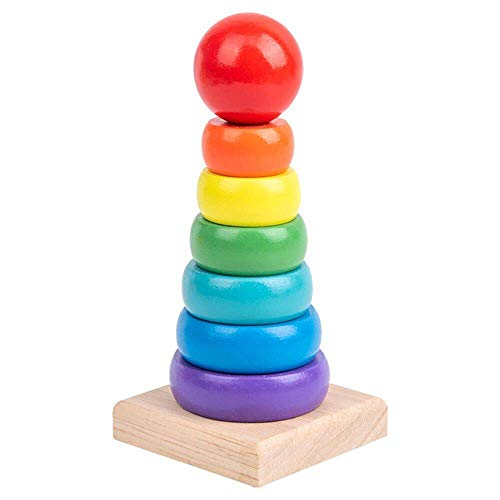 Wdd Wooden Rainbow Stacking Toy for Kids, Creative Colorful Wood Stacker Nesting Puzzle Blocks, Educational Building Blocks for Baby Toddlers (Rainbow Tower)