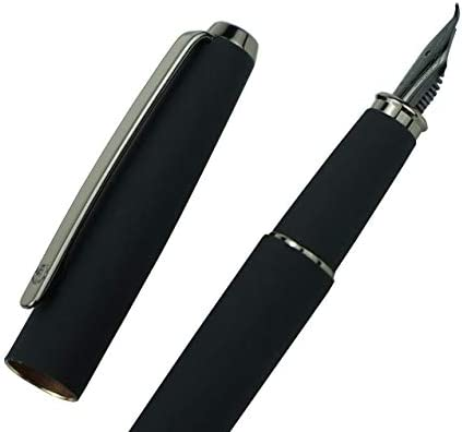 Hongdian Matte Black Fountain Pen Bent Nib Fude Pen Warrior Series Classic Design with Converter product image