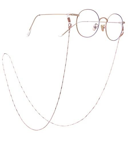 AMOZ Moda Acero Inoxidable Anteojos Gafas de Sol Cadena Soporte para Gafas Correa Cordón Regalo para Mujeres,Conector de Oro Rosa, Blanco