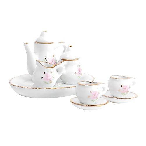 Fenteer 8 Stück 1/12 Puppenhaus Miniatur Geschirr Teeservice Set aus Porzellan, Puppenhaus Küche Zubehör