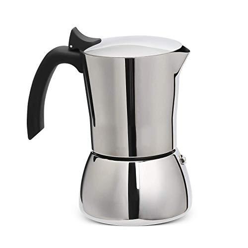 Resnnih Espressokocher für induktion Edelstahl Mokkakanne aus 430 Edelstahl Espresso Maker 6 Tassen 300ml