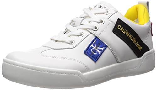 Calvin Klein Jeans Women's NILLA Sneaker, Bright White Action Leather, 10.5M M US