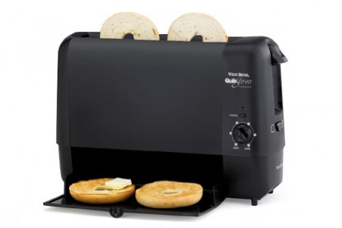 West Bend Quik-Serve Toaster, Bread and Bagel Options with 6 Settings, and Cool Touch Exterior, with Black Finish