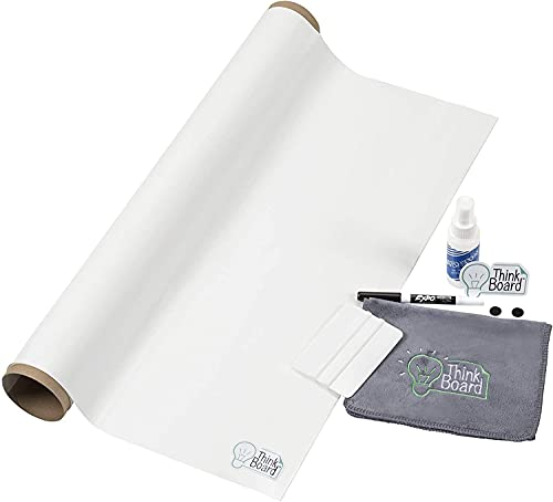 """Premium - 2'x3' White – Ultra-Removable Adhesive Whiteboard Wall Sticker - Peel and Stick Dry Erase Board for Office, Home, & Classroom - Erasable Stain-Proof Message Board (24""""x36"""")"""