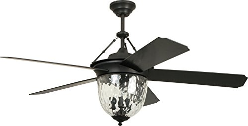 """Cavalier Dual Mount 52"""" Outdoor Ceiling Fan with 120 Watts Light Kit and Wall & Remote Control, 5 ABS Blades, Aged Bronze - Craftmade CAV52ABZ5LK"""