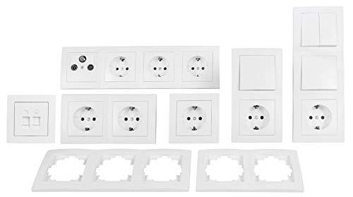 MC POWER 4250967318595 FLAIR Entertainment - Juego de interruptores y enchufes (21 piezas), color blanco
