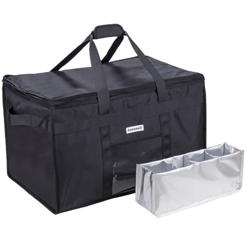 Homemell Food Delivery Bag XXXL Premium Commercial Quality Strong   Upgraded Durable Zippers   Great Food Transportation or Insulated Grocery Bags Keeping Food Fresh,Cold or Hot   Perfect for Uber Eats, Postmates, GrubHub, Instacart, Catering   Premium Warmer and Cold Bag for Frozen Food
