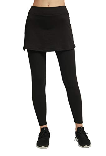slimour Women Skirted Leggings with Pocket Modest Workout Skirts with Leggings Running Black M