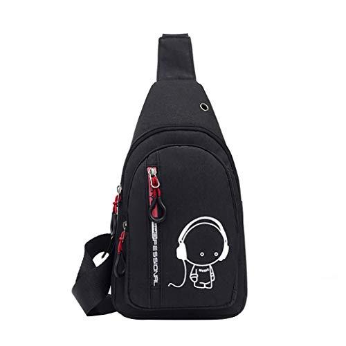 Transwen Umhängetasche Sling Bag Schultertasche Brusttasche Sling Rucksack Sporttasche Outdoor Brusttasche Crossbag Schulterrucksack für Herren für Reisen Wandern(Schwarz)
