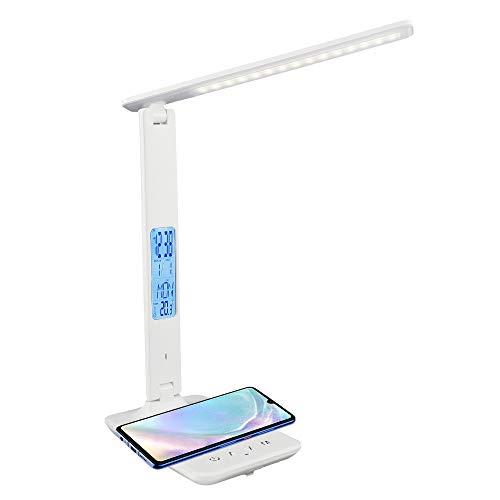 Lámpara de escritorio LED con pantalla LCD del reloj con carga inalámbrica, 5 niveles de luminosidad, 3 modos de iluminación, lámpara de protección de los ojos, para dormitorio, oficina (blanco)