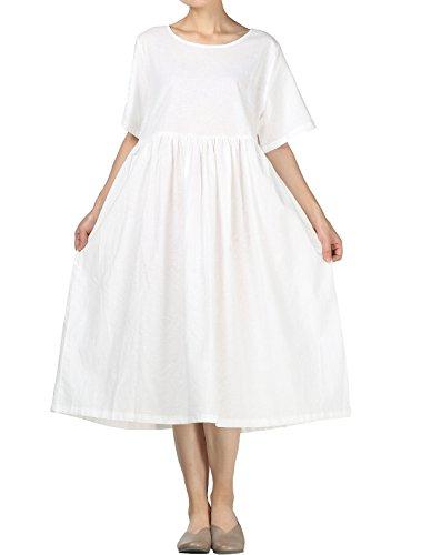 Mallimoda Mujer Vestidos Largo Maxi Vestir Lino Verano Cuello Redondo Manga Corta Casual Vestido Tunica Blanco M