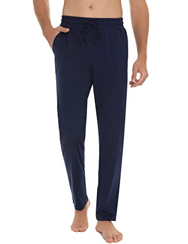 Hawiton Schlafanzughose Herren Lang Pyjamahose Freizeithose aus Baumwolle Nachtwäsche Hose mit Elastischer Taille und Tasche, Farbe: Dunkelblau, Gr.L