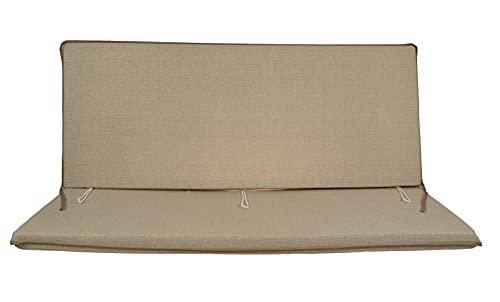 Cuscino per dondolo 3 posti 135*55*6 cm imbottito e rivestito in cotone totalmente sfoderabile compreso di schienale e seduta (Cappuccino)