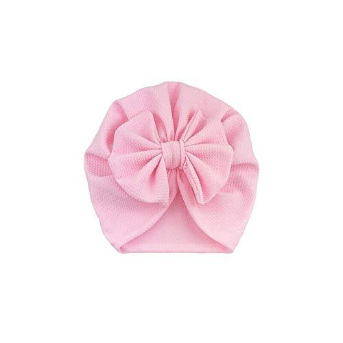 Accesorios de Cosas para bebés Sombrero de niña con Nudo de Lazo Gorro para bebé Sólido Gorra con Lazo Grande para niñas Sombreros para niños-Light Pink