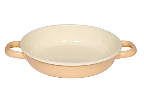 Riess, 0293-006, Eierpfanne, 18 cm, CLASSIC BUNT/PASTELLl, Goldgelb, 4 cm hoch, Emaille, Bratpfanne, für Eiergerichte