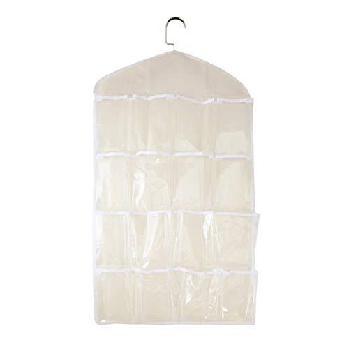 cottonlilac Große Kapazität 16 Gitter Garderobe hängen Organizer Praktische Unterwäsche BH Socken Krawatten Aufbewahrungstasche Kleiderbügel - Beige