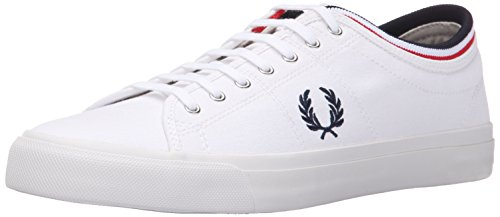Fred Perry Women's Kendrick Tipped Cuff Canvas Sneaker, White, 7.5