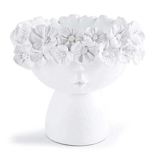 ZGHYBD Wreath Girl Flower Vase,Crown Doll Head Container Planter Resin Craft Home Decor Art Vase Furnishings (White)