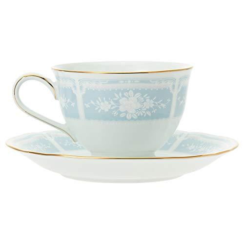 Noritakeノリタケカップ&ソーサー(コーヒーティー兼用)220ccレースウッドゴールドブルーファインポーセレンY9587A/1507