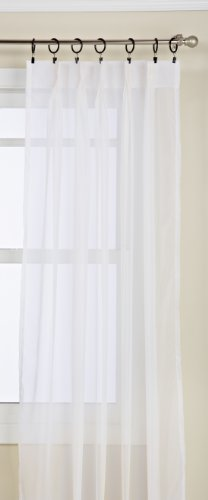 "Lorraine Home Fashions Monte Carlo Pinch Pleat Sheer Window Curtain Pair, 48"" x 63"", Snow White"