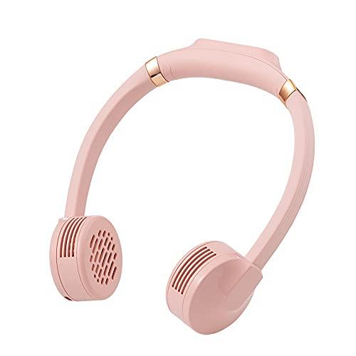 Ventilador Cuello Ventilador Portatil USB Recargable Mini Ventilador De Manos Libres 3 Velocidades Rotación Libre De 360°luz Led para Viajes Interior Exterior (Color : Pink)