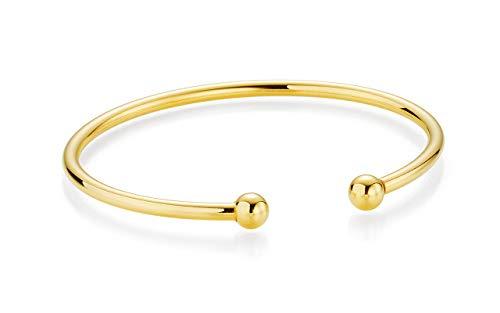 YoungDiamondFashion YDF Kugel-Armschmuck Armspange Armreif Flexibel 925 Sterlingsilber Gelbvergoldet Premium Qualität Kugelring