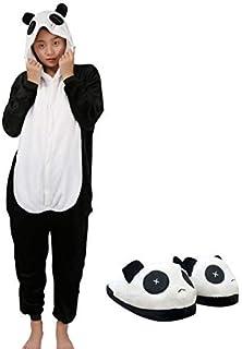f4501f167f89f chuangminghangqi Surpyjama Panda Combinaison Costume Jumpsuit Flanelle  Cosplay Soiree de Deguisements Halloween pour Adulte Unisexe