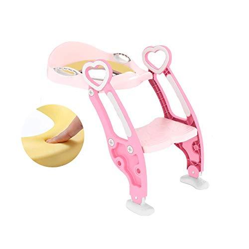 JIEER-C Ergonomische stoel, potje, toiletbril, comfortabele robuuste toiletbril voor kinderen, babypotje, kleinkindkruk met antislip kinderladder voor jongens en meisjes, 1-7 kinderen roze